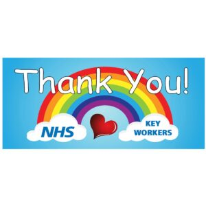 Thank you NHS banner Printed outdoor pvc sign support doctors, nurses, hospital staff and key workers