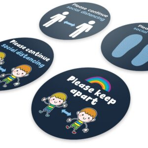 Blue Social Distancing – 4 Pack Circle Floor Stickers – 4 Designs