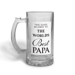 World's Best Papa Father's Day – Glass Beer Stein