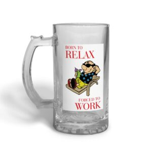 Born to Relax Father's Day – Glass Beer Stein