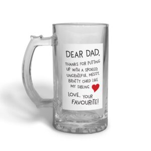 Dear Dad Father's Day – Glass Beer Stein