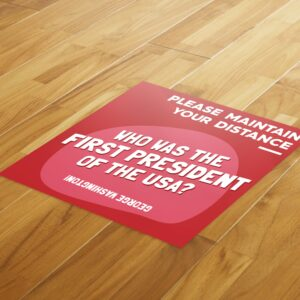 Fun Fact 2 Social Distancing – 4 Pack Square Floor Stickers