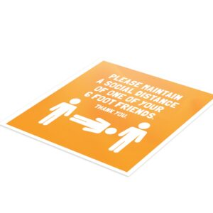 6 Foot Friend Social Distance – 4 Pack Square Floor Stickers
