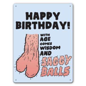 Funny Saggy Balls  – Metal Wall Sign