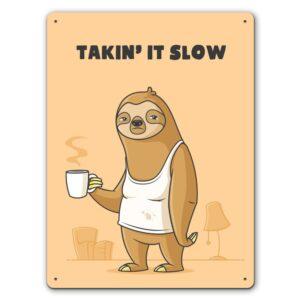 Morning Sloth  – Metal Wall Sign