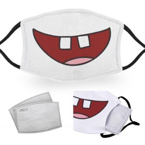 Front Teeth Mouth – Reusable Adult Face Masks – 2 Filters Included