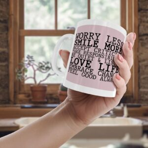 Worry Less Smile More Colourful – Printed Quote Mug