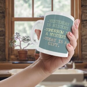 Yesterday Is History Colourful – Printed Quote Mug