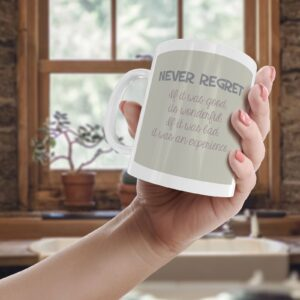 Never Regret Colourful – Printed Quote Mug