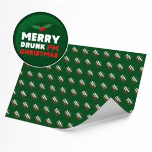 Funny Merry Drunk I'm Christmas –  Novelty Wrapping Paper Sheet