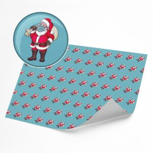 Funny Santa Face Mask –  Novelty Wrapping Paper Sheet