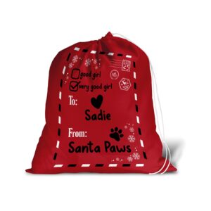 Santa Sack – Personalised Name – Pet Dog Good Girl Christmas Treat Stocking Red