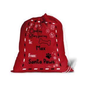 Santa Sack – Personalised Name – Pet Dog Good Boy Christmas Treat Stocking Red