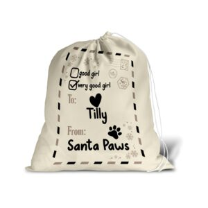 Santa Sack – Personalised Name – Pet Dog Good Girl Christmas Treat Stocking White