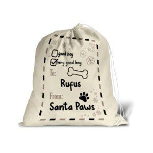 Santa Sack – Personalised Name – Pet Dog Good Boy Christmas Treat Stocking