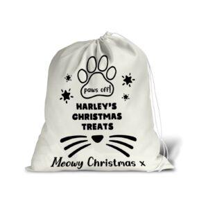 Santa Sack – Personalised Name – Pet Cat Christmas Treat Stocking