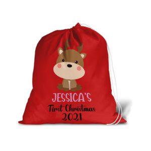 Santa Sack – 1st Christmas Personalised Name – Large Gift Bag Present Stocking
