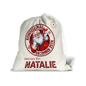 Santa Sack For Christmas Presents With Personalised Name – Large Gift Bag Stocking White