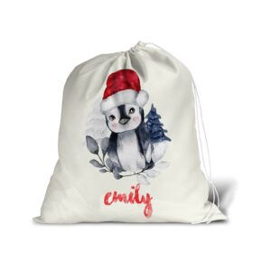 Santa Sack With Personalised Name For Christmas Presents – Winter Penguin – Large Gift Bag Stocking
