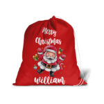 Merry Christmas Santa Sack With Personalised Name For Christmas Presents – Large Red Gift Bag Stocking