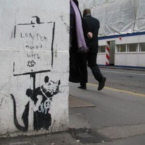 Banksy Graffiti Street Art A2 Canvas Giclee Framed London Doesn't Work Rat 2