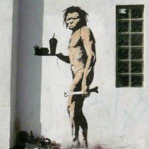 Banksy Graffiti Street Art A2 Canvas Giclee Framed Print Caveman McDonalds 2