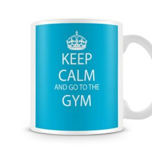 Keep Calm And Go To The Gym Blue Background Ideal Gift – Printed Mug