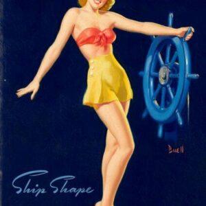 Al Buell Blonde American Pinup Ship Shape Vintage Art Print
