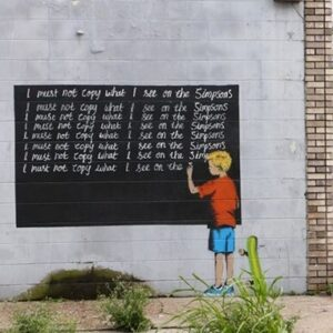 Banksy Graffiti Street Art A2 Canvas Giclee Framed Boy Doing Lines Simpsons