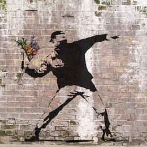 Banksy Graffiti Street Art A2 Canvas Giclee Framed Flower Throw Riot Colour 2