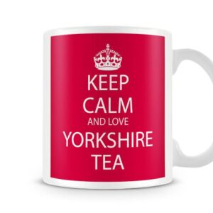 Keep Calm And Love Yorkshire Tea Red Background Ideal Gift – Printed Mug
