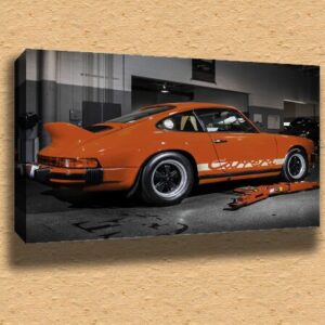 1973 Porsche Carrera CAR020 Framed Canvas Print A2 – 16″ x 24″