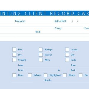 New Tinting Treatment Consultation Client Record Cards