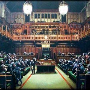 Banksy Graffiti Street Art A2 Canvas Giclee Framed Monkey's in Parliament 3