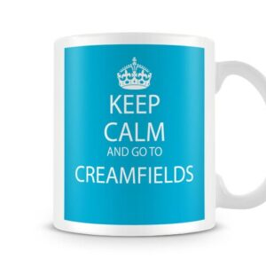 Keep Calm And Go To Creamfields Blue Background – Printed Mug