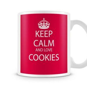 Keep Calm And Love Cookies Red Background – Printed Mug