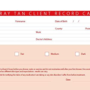 New Spray Tan Treatment Consultation Client Record Cards