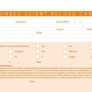 New Sun Bed / Tanning Salon Treatment Consultation Client Record Cards