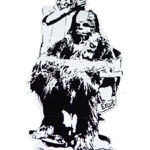 Banksy Graffiti Street Art A2 Canvas Giclee Framed Print Chewbacca Barbers 3