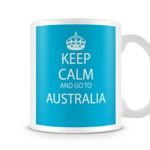 Keep Calm And Go To Australia Blue Background – Printed Mug