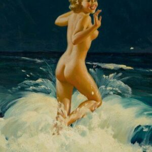 Al Buell Blonde Pin Up at Beach Southern Exposure Vintage Art Print