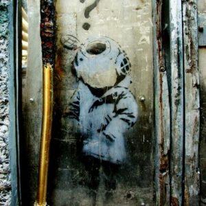 Banksy Graffiti Street Art A2 Canvas Giclee Framed Diving Helmet Girl Question