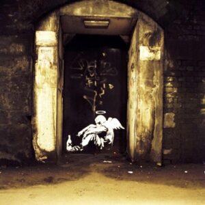 Banksy Graffiti Street Art A2 Canvas Giclee Framed Print Fallen Angel Homeless