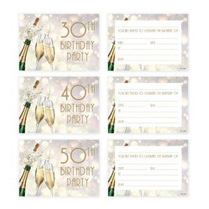 Birthday Invites A6 (350gsm) – Champagne