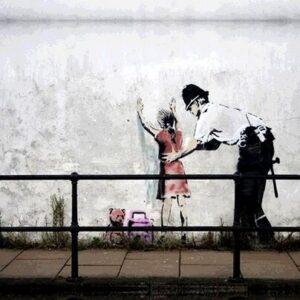Banksy Graffiti Street Art A2 Canvas Giclee Framed Police Frisk Young Girl