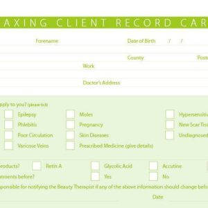 New Waxing Treatment Consultation Client Record Cards