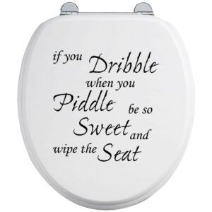 Toilet Seat Stickers Decal 12 Colour Choices Quote If You Dribble – Wipe Seat