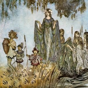 A2 Sabrina Rises Attended By Water Nymphs Arthur Rackham 1921 print on canvas