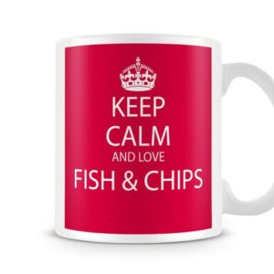 Keep Calm And Love Fish And Chips Red Background – Printed Mug