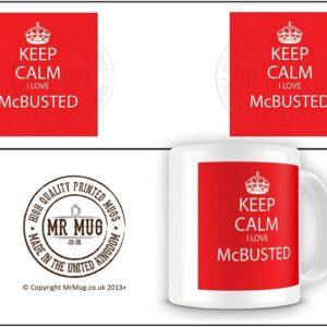 Keep Calm I Love Mc Busted Red Colourful Background – Printed Mug